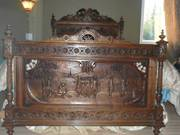 1900 Hand Carved French Renaissance Bedroom Suite